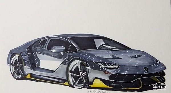 简单铅笔手绘跑车