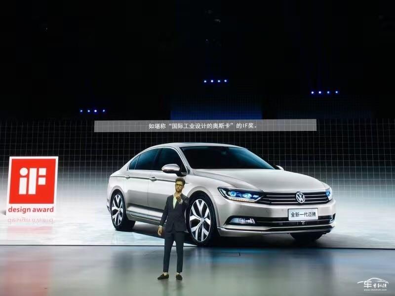 【车市纵横讯】7月27日,一汽-大众全新迈腾正式上市。新车共推出搭载三种排量引擎的9款车型,厂商指导价区间为18.99万元-31.69万元。     基于大众全新MQB/B平台打造而来的一汽-大众全新迈腾在造型设计方面基本延续了海外版Passat B8的设计语言,相比于现款车型,全新迈腾的造型设计无疑更为年轻时尚,新车采用了大众最新家族式前脸设计,前格栅与造型犀利的前大灯组融为一体,在拉伸横向视觉宽度的同时,也使其整体看上去更为稳健。     全新迈腾的内饰设计采用了更多的直线线条,简约的设计风格带来
